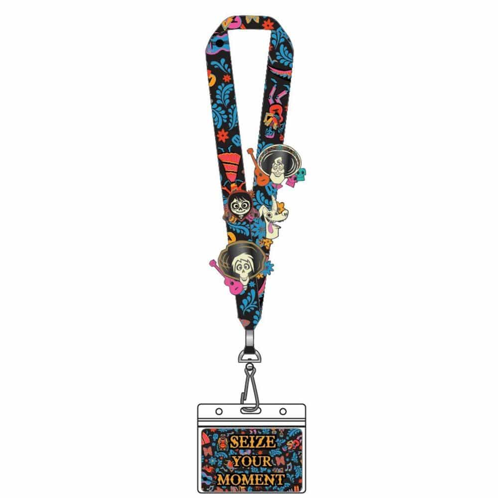 Loungefly Coco Seize Your Moment Lanyard with 4-Piece Enamel Pins Set