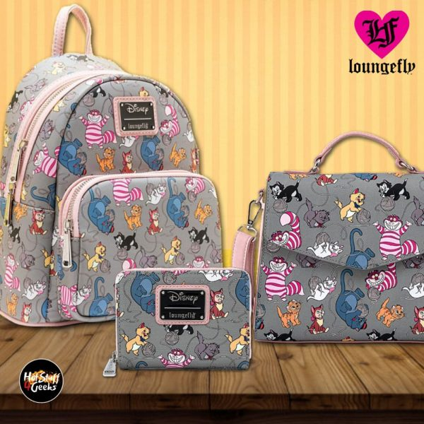 Loungefly Disney: Cats Mini-Backpack, Crossbody Purse and Wallet