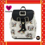 Loungefly Disney Mickey and Minnie Mouse Bow Hardware AOP Backpack