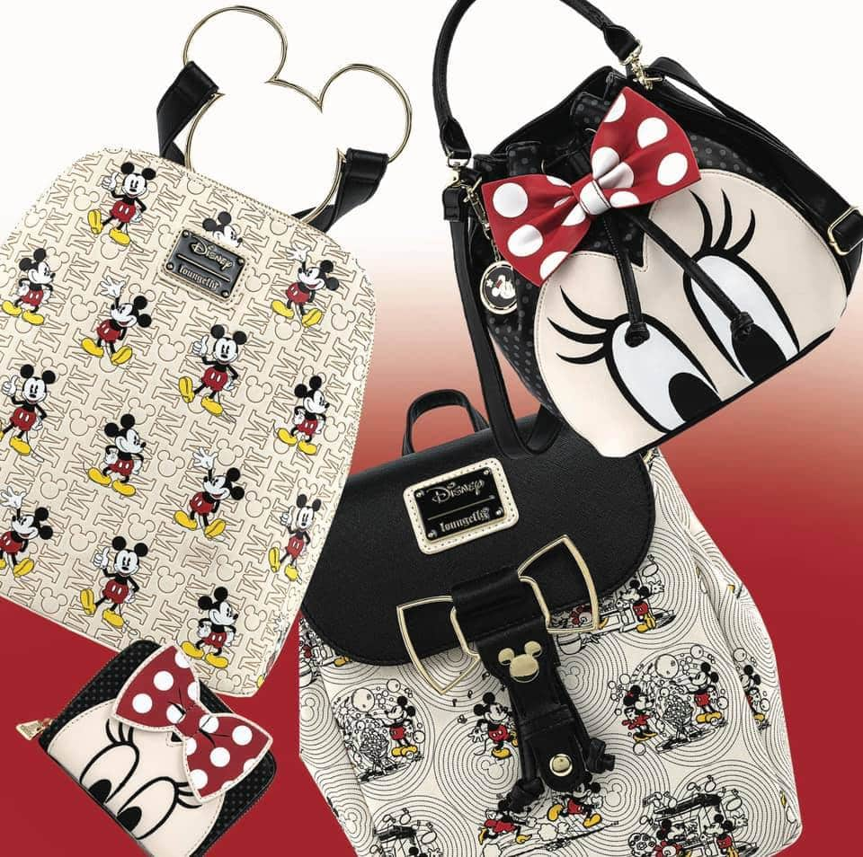 Loungefly Disney Mickey Mouse Hardware Wallet, Loungefly Disney Mickey Mouse Hardware Bag Purse, and Loungefly Disney Mickey Mouse Hardware Backpack, Loungefly Disney Minnie Mouse Bow Closeup Bucket Purse, and Loungefly Disney Minnie Mouse Closeup Bow Zip-Around Wallet