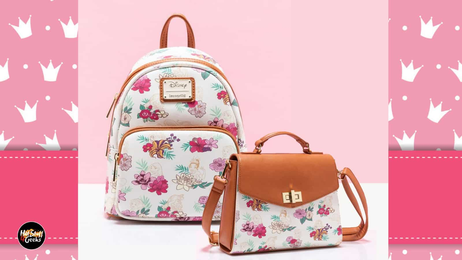 Loungefly Disney Princess Floral Crossbody Purse and Mini Backpack