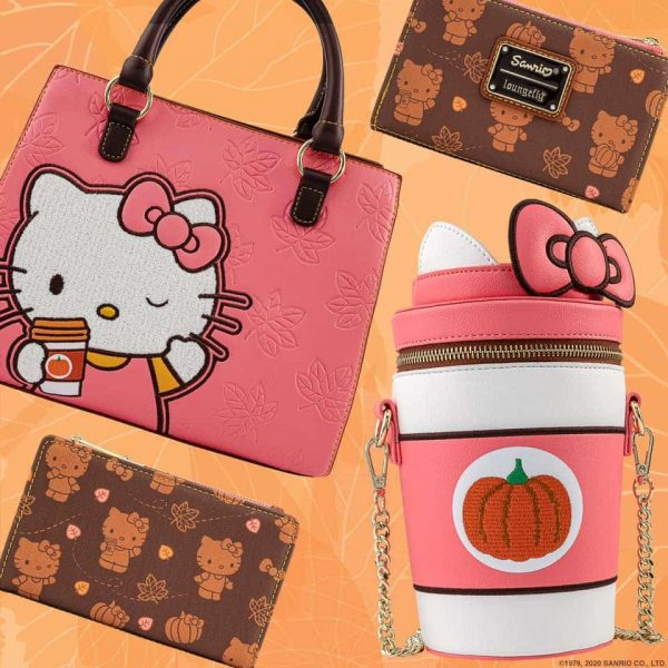 Loungefly Sanrio Hello Kitty Pumpkin Spice Collection: Crossbody Bag, Cup Crossbody Bag, Mini-Backpack And Wallet