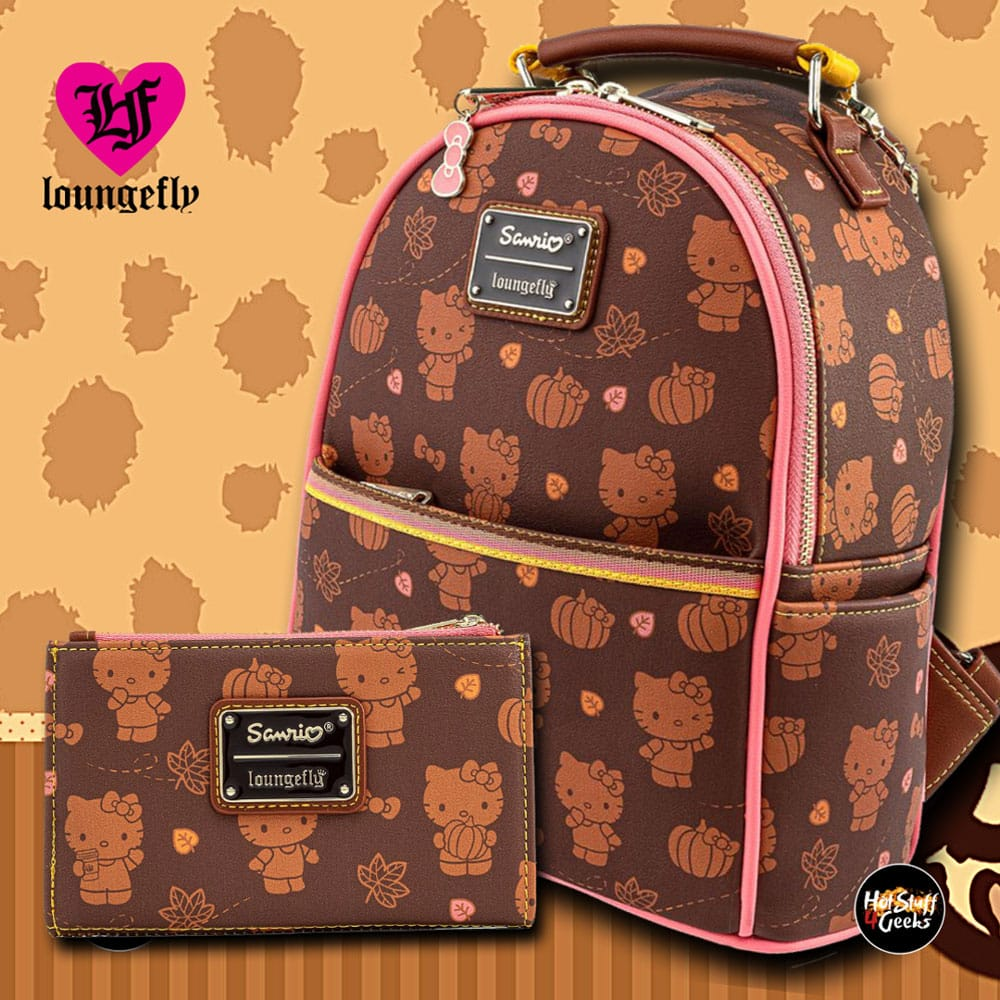 Loungefly Sanrio Hello Kitty Pumpkin Spice Collection: Convertible Mini-Backpack And Wallet