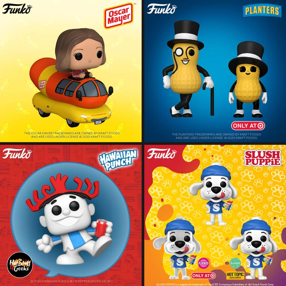 Funko Pop! Ad Icons – Mr. Peanut, Baby Peanut, Hawaiian Punch Punchy, Icee Slush Puppie, Slush Puppie Flocked, Slush Puppie, and Oscar Mayer Wienermobile Funko Pop! Vinyl Figures