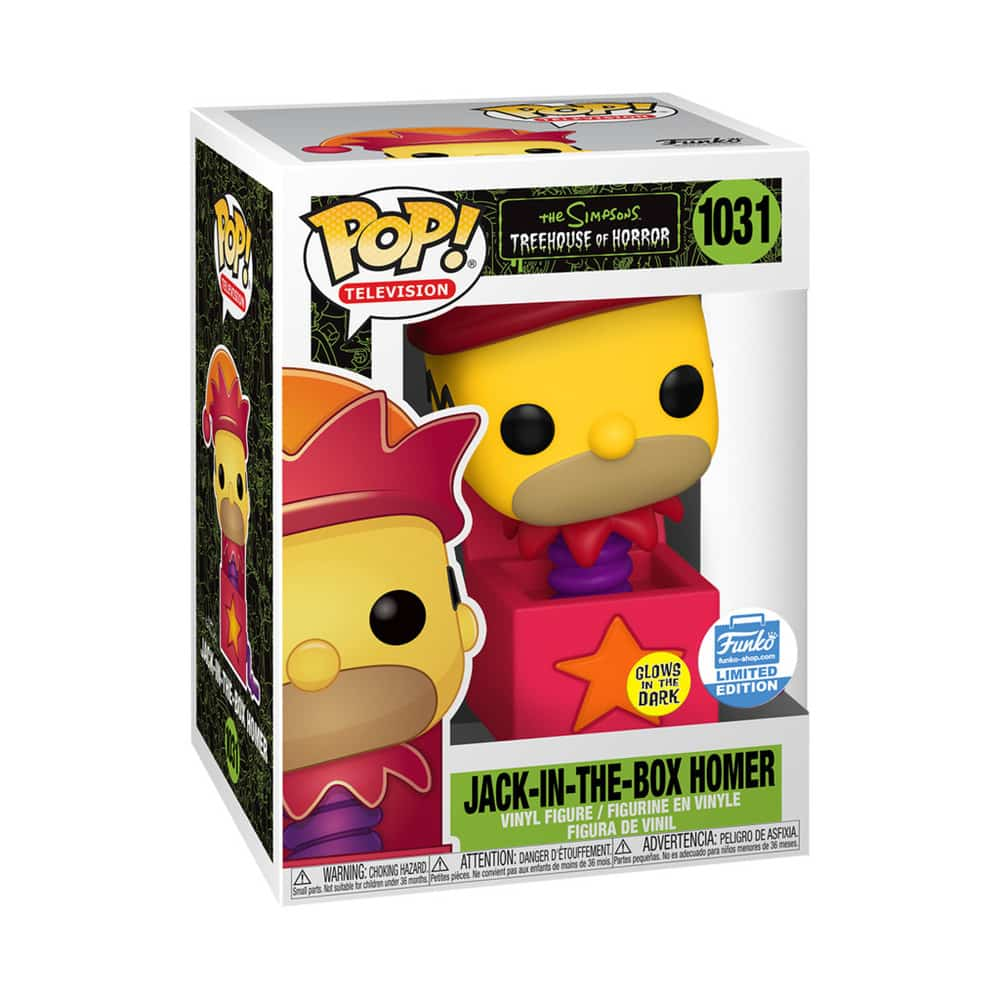 Funko Pop! Television: The Simpsons Treehouse Of Horror (The Simpsons Halloween Specials) - Homer Jack-In-The-Box Glow In The Dark (GITD) Funko Pop! Vinyl Figure - Funko Shop Exclusive
