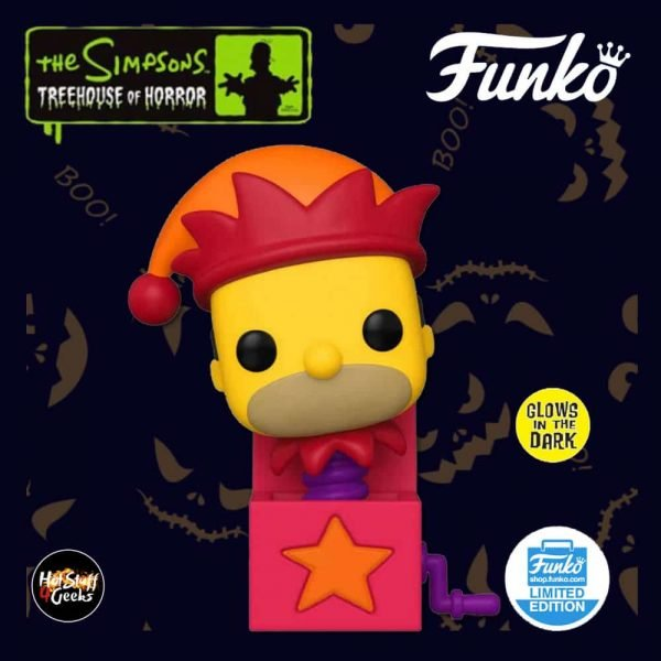 Funko Pop! Animation: The Simpsons Treehouse Of Horror (The Simpsons Halloween Specials) - Homer Jack-In-The-Box Glow In The Dark (GITD) Funko Pop! Vinyl Figure - Funko Shop Exclusive