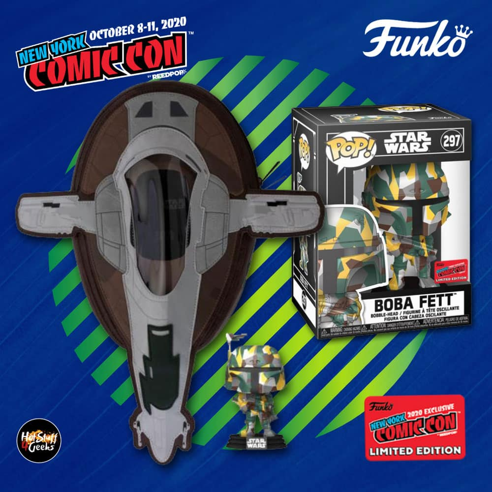 Funko Pop! & Bag: Star Wars: Artist Series Boba Fett Funko Pop! Vinyl Figure and Loungefly Slave I Sling Bag - Funko Shop and NYCC 2020 Shared Exclusive