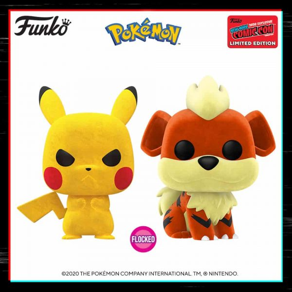 Funko Pop! Games: Pokemon - Flocked Growlithe (BoxLunch) and Flocked Pikachu (Target) Funko Pop! Vinyl Figure - NYCC 2020 Shared Exclusive