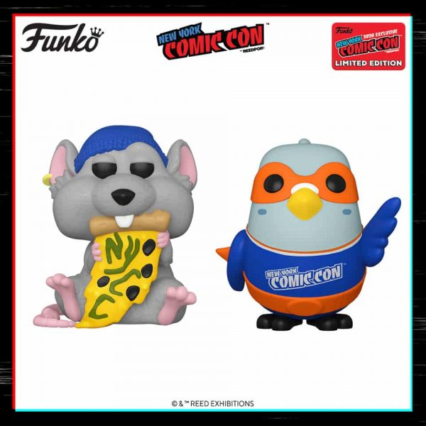 Funko Pop! Icons: New York Comic Con - Pizza Rat with Blue Hat and Paulie Pigeon Blue/Orange - NYCC 2020 and Funko Shop Shared Exclusive