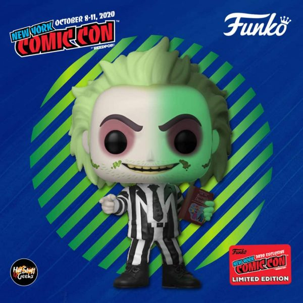 Funko Pop! Movies: Beetlejuice – Beetlejuice with Handbook of Recently Deceased Glow-In-The-Dark (GITD) Funko Pop! Vinyl Figure - GameStop and NYCC 2020 Shared Exclusive