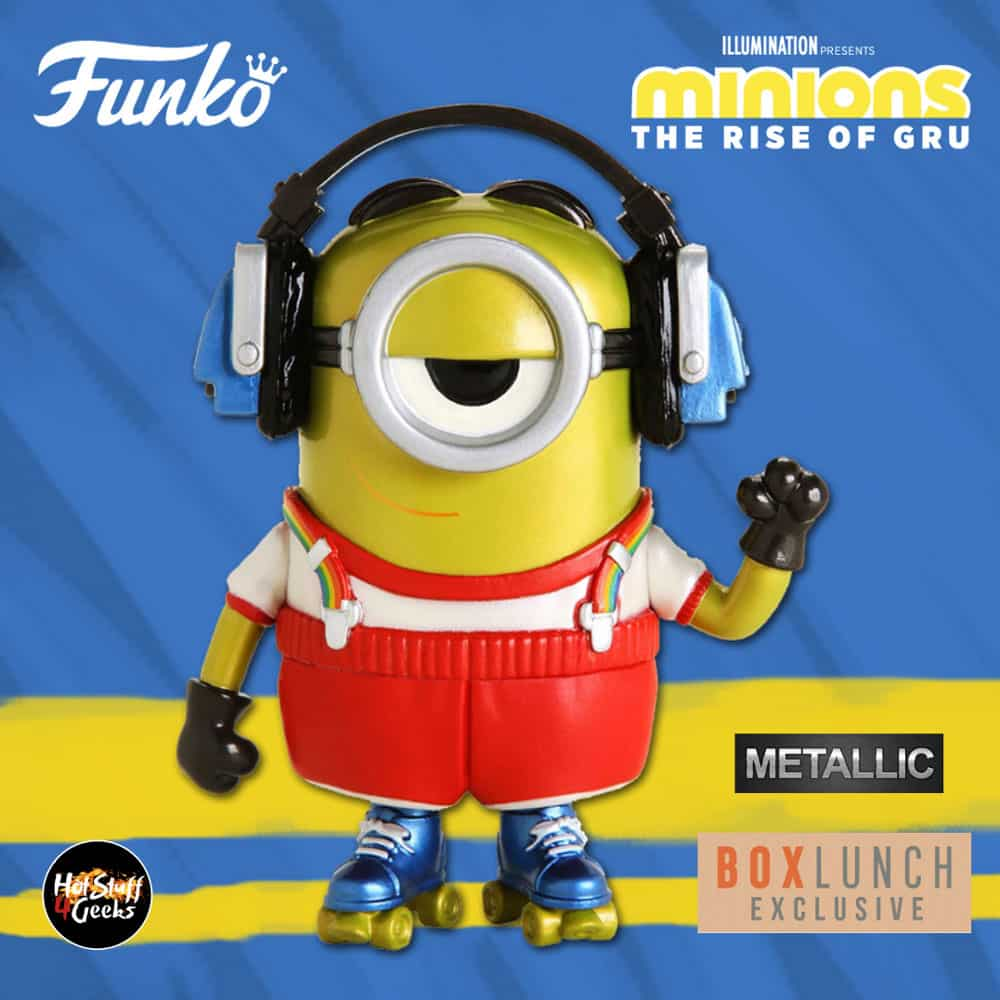 Funko Pop! Movies: Minions - The Rise of Gru: Roller Skating Stuart Metallic Funko Pop! Vinyl Figure - BoxLunch Exclusive