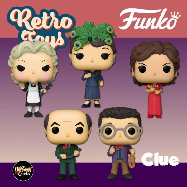 Funko Pop! Retro Toys: Clue - Miss Scarlet with Candlestick, Mr. Green with Lead Pip, Mrs. White with Wrench, Professor Plum with Rope and Mrs. Peacock With The Knife Funko Pop! Vinyl Figures - Wave 2020