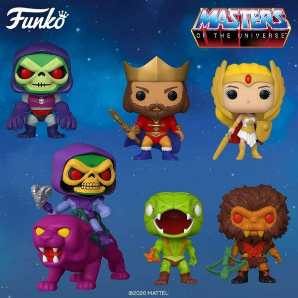 Funko Pop! Retro Toys: Masters of the Universe - Skeletor with Terror Claws, He-Man 10-Inch, Skeletor on Panthor, Classic She-Ra, Kobra Khan, King Randor, Grizzlor, Classic She-Ra Glow In The Dark (Specialty Series), Metallic Skeletor with Terror Claws (Target Exclusive), Flocked Skeletor on Panthor (Funko Shop Exclusive), Flocked Grizzlor (Funko Shop Exlcusive), Purple Skeletor (Funko Shop Exlcusive), Green He-Man (Funko Shop Exlcusive) Funko Pop!Vinyl Figures - 2020 Wave