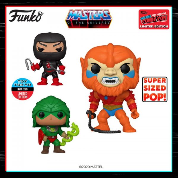 Funko Pop! Television: Masters of the Universe – Ninjor (Toy Tokyo), King Hiss (Toy Tokyo) and Super Sized Beast Man (GameStop) Funko Pop! Vinyl Figures - NYCC 2020 Shared Exclusives