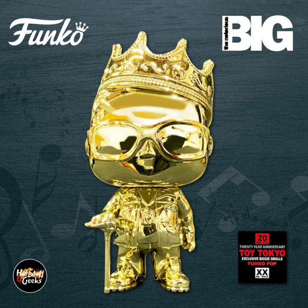 Funko Pop - The Notorious B.I.G. - Notorious B.I.G. With Crown Metallic Gold Chrome Funko Pop! Vinyl Figure - TOY TOKYO 20th Anniversary Exclusive