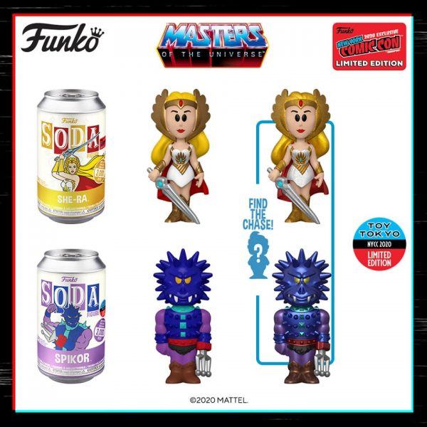 Funko Vinyl Soda: Masters of the Universe – Spikor With Metallic Chase (Toy Tokyo) and She-Ra With Glitter Chase Variant (Funko Shop) Soda Figures - NYCC 2020 Shared Exclusive