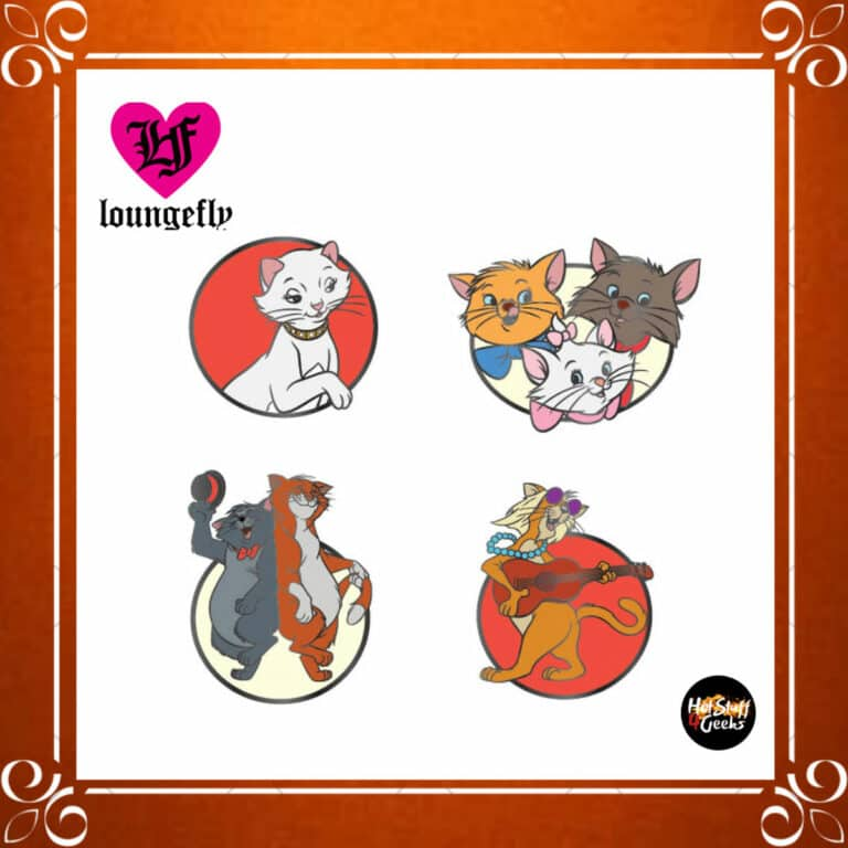 Loungefly Aristocats 4-Piece Enamel Pin Set by Loungefly