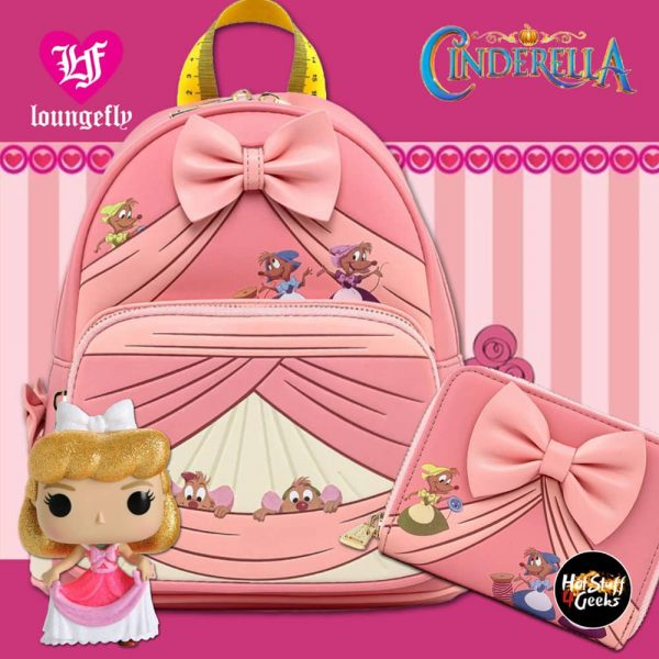 Loungefly Disney: Cinderella Bow Wallet and Loungefly Disney: Cinderella Peek A Boo Mini Backpack