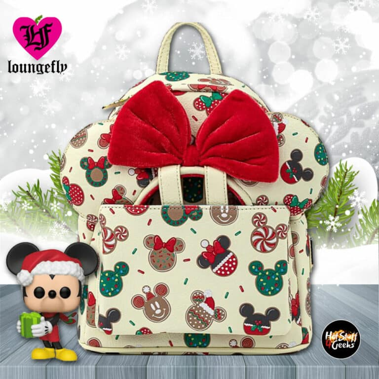 Loungefly Disney Mickey Minnie Christmas Cookies Mini-Backpack With Matching Ears