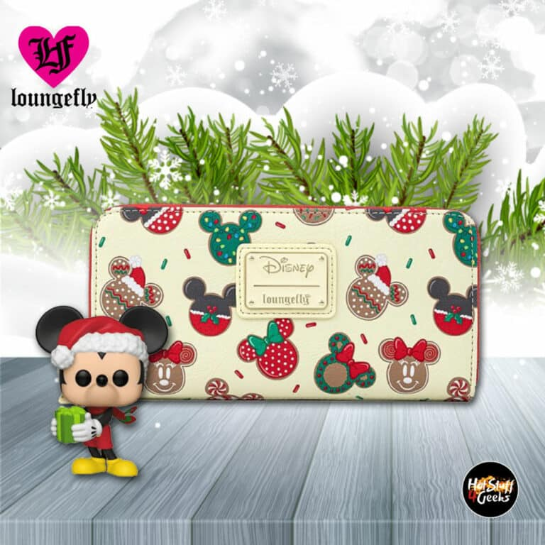 Loungefly Disney Mickey and Minnie Christmas Cookies Zip-Around Wallet