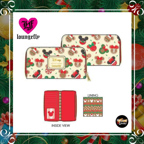 Loungefly Disney Mickey and Minnie Christmas Cookies Zip-Around Wallet by Loungefly