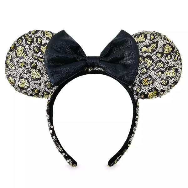 Loungefly Disney Minnie Mouse Sequined Leopard Print Ear Headband with Bow