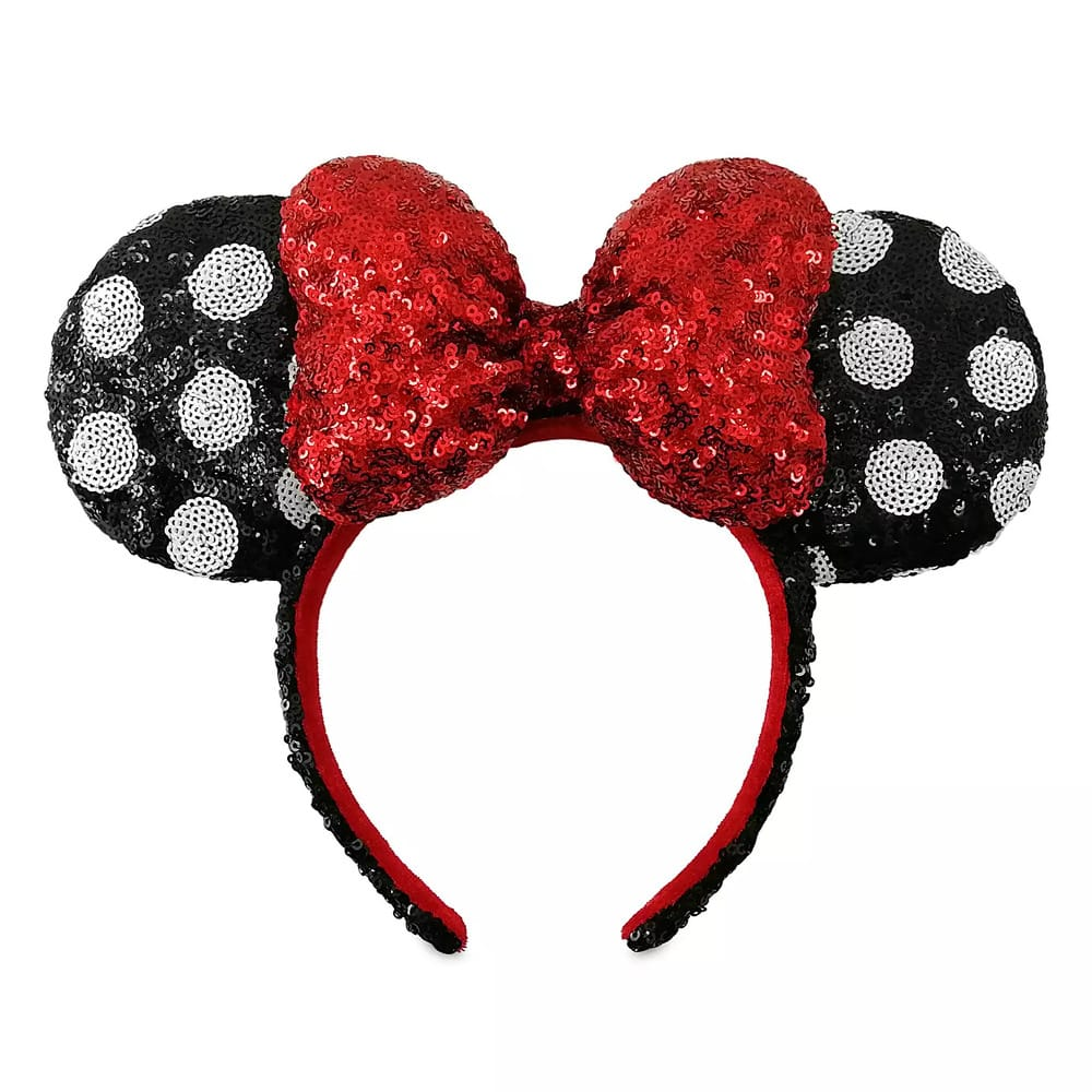 Loungefly Disney: Minnie Mouse Sequined Polka Dot Ear Headband with Red Bow