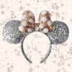 Loungefly Disney: Minnie Mouse Silver Sequined Ear Headband with Rose Gold Bow