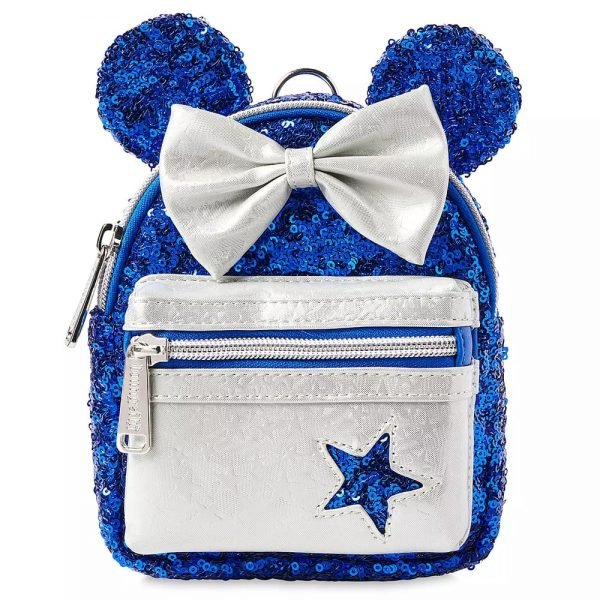 Loungefly Minnie Mouse Sequined Backpack Wristlet – Wishes Come True Blue - Disney Parks Exclusive
