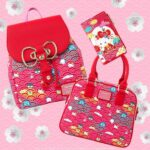 Loungefly Sanrio: 60th Anniversary Gold Bow Flap Backpack by Loungefly: Wallet, Purse and Backpack