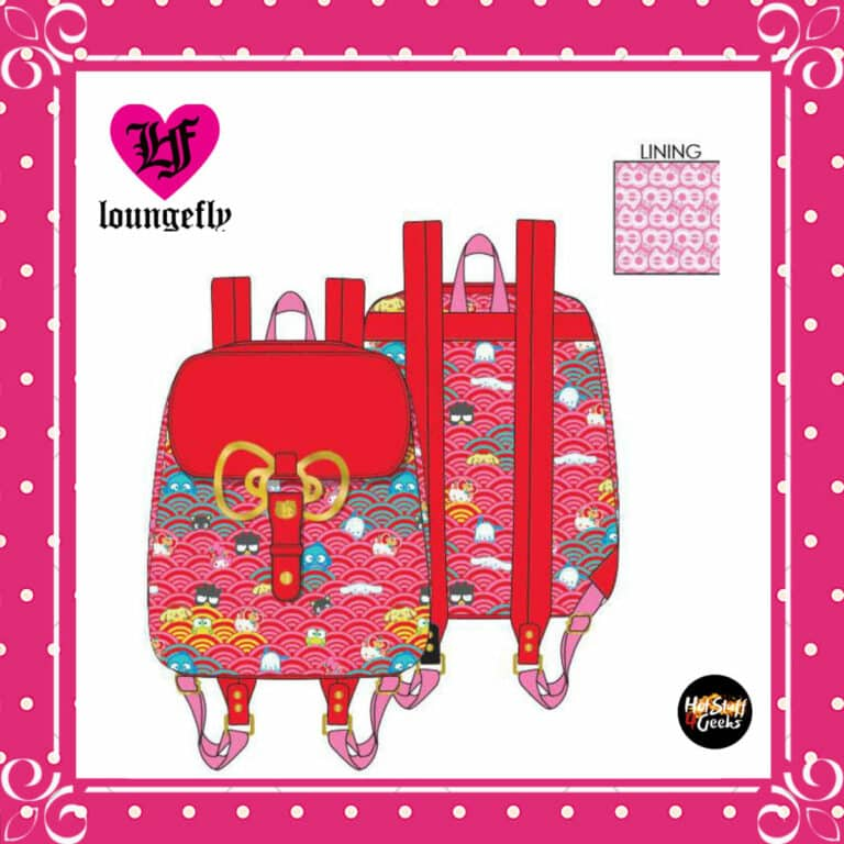 Loungefly Sanrio 60th Anniversary Gold Bow Flap Backpack by Loungefly