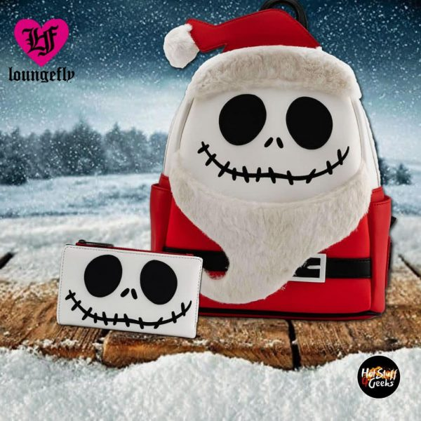 Loungefly Disney The Nightmare Before Christmas Santa Jack Cosplay Mini Backpack and Wallet