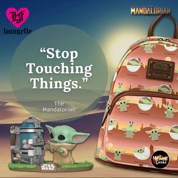 Loungefly Star Wars The Mandalorian: The Child AOP Scene Mini Backpack, Wallet and Purse