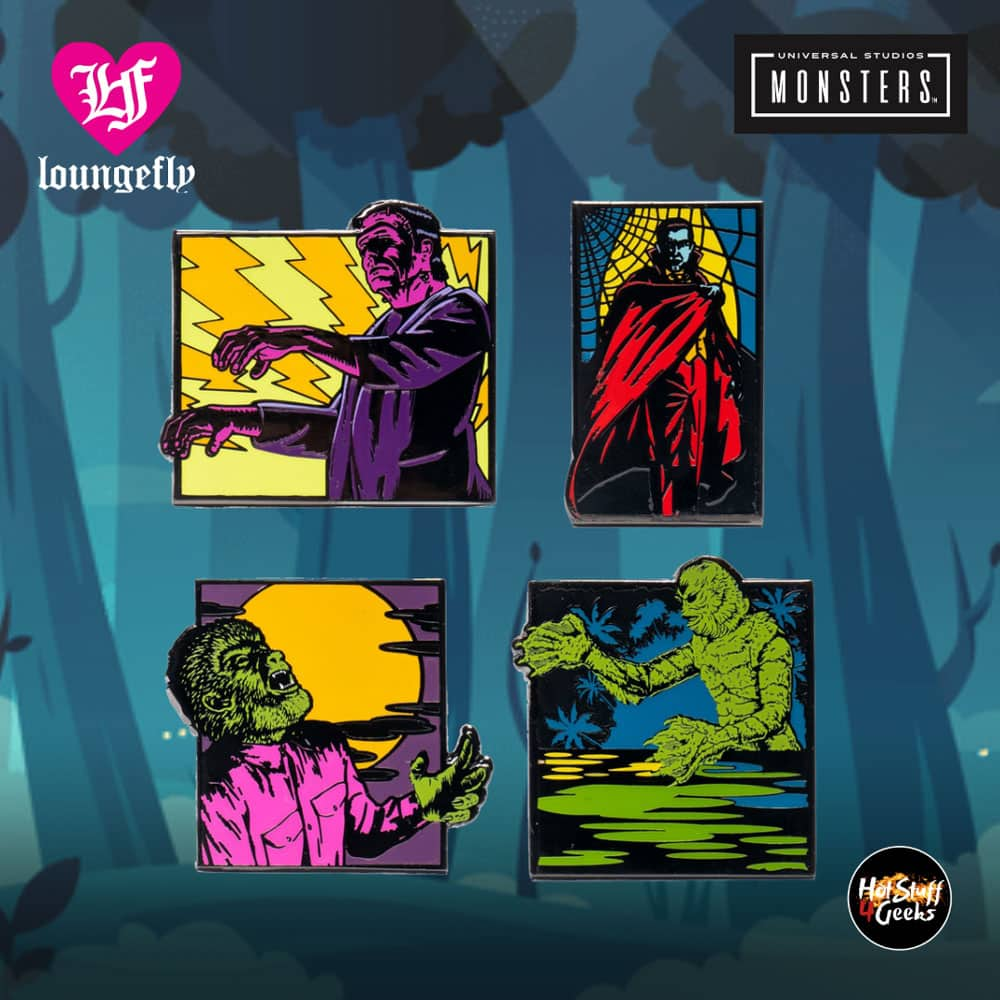 Loungefly Universal Monsters 4-Piece Pin Set - Entertainment Earth Exclusive