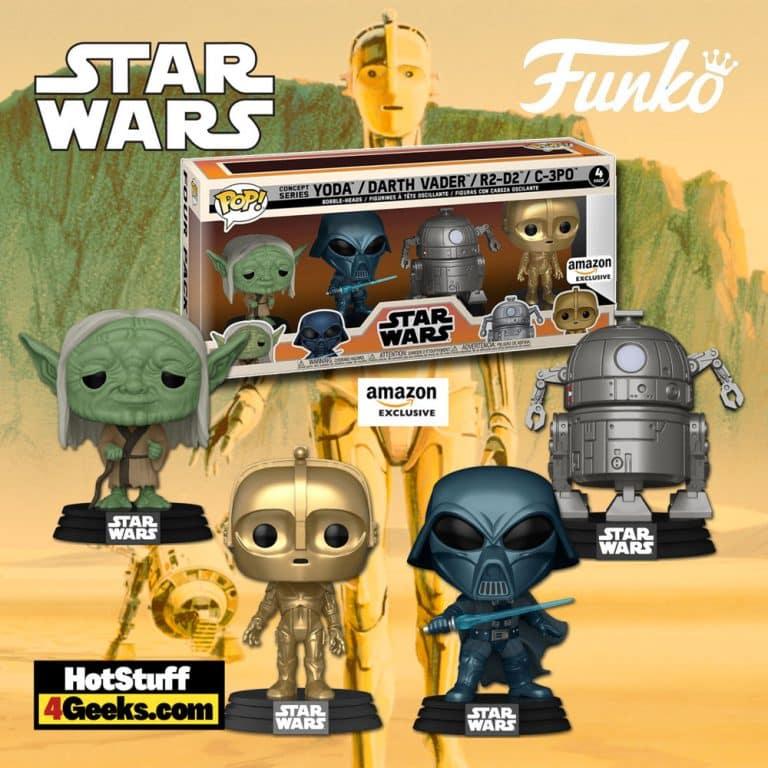 Funko Pop! Star Wars: Concept Series - Yoda, Alternate Darth Vader, C-3PO, and R2-D2 Funko Pop! Vinyl Figures - Wave 2 + Funko Pop! Star Wars: Concept Series 4PK -- Amazon Exclusive