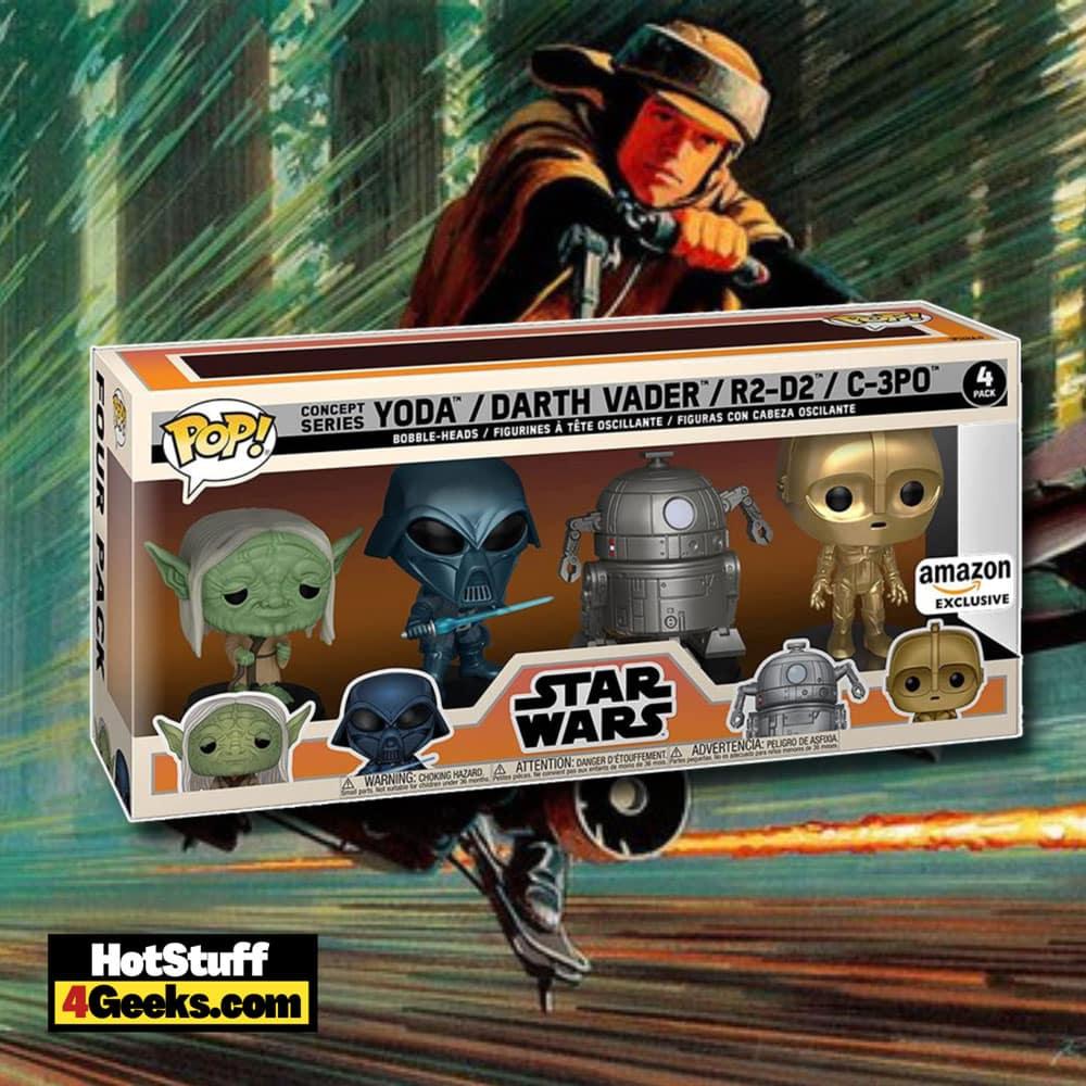 Funko Pop! Star Wars: Concept Series Yoda, Darth Vader, C-3PO, and R2-D2 4-pack funko Pop! Vinyl Figures - Amazon Exclusive