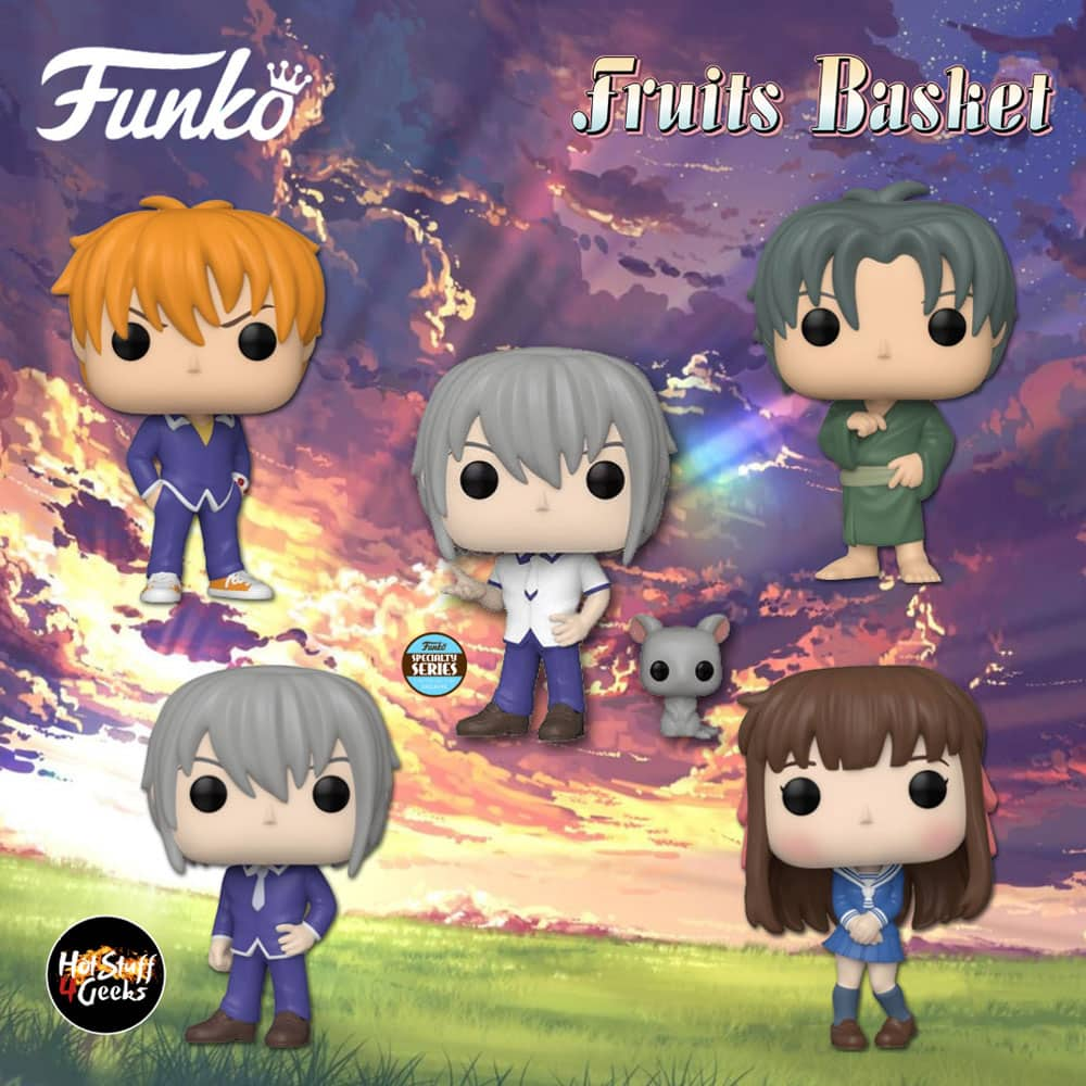 Funko Pop! Animation: Fruits Basket - Shigure Sohma, Tohru Honda, Kyo Sohma, Yuki Sohma, Yuki Sohma With Rat (Specialty Series Exclusive), Kyo Sohma with Cat (Hot Topic Exclusive ) and Shigure Sohma with Dog (Funimation Exclusive ) Funko Pop! Vinyl Figures