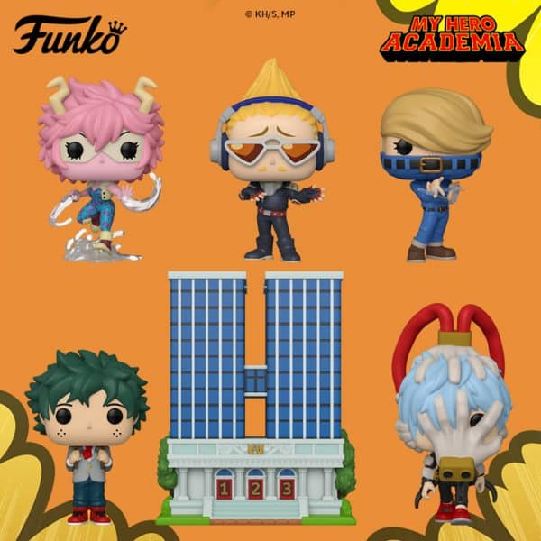 Funko Pop! Animation: My Hero Academia - Best Jeanist, Shigaraki, Mina Ashido, Present Mic, Mina Ashido Metallic, All Might 10-Inch Glow In The Dark, Endeavor Glow In The Dark, and Pop!Town U.A. High School with Deku in Uniform Funko Pop! Vinyl Figures