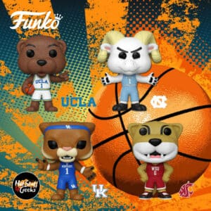 Funko Pop! College: Joe Bruin (UCLA Mascot ), Butch T Cougar (Washington State University Mascot), Rameses (University of North Carolina Mascot), and Scratch (University of Kentucky Mascot) Funko Pop! Vinyl Figures