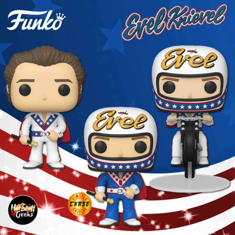 Funko Pop! Icons: Evel Knievel with Cape With Chase and Funko Pop! Rides: Evel Knievel on Motorcycle Funko Pop! Vinyl Figures