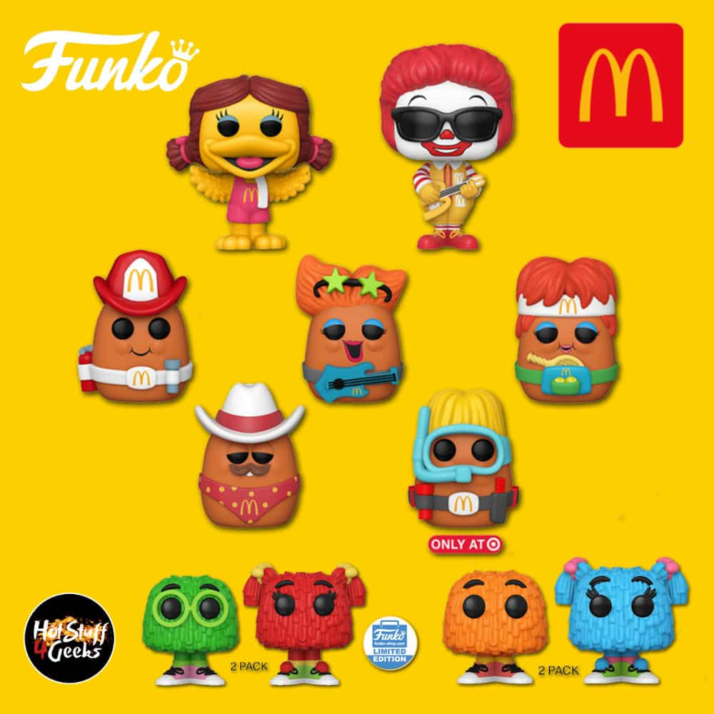 Funko Pop! Icons: McDonald's - Fry Guy 2-Pack, Rock Out Ronald, Fireman Nugget, Cowboy Nugget, Tennis Nugget, Rockstar Nugget, Birdie, Fry Guy 2-Pack (Funko Shop Exclusive), and Scuba Nugget (Target Exclusive) Funko Pop! Vinyl Figures - 2020 Wave 2