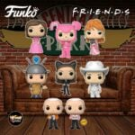 Funko Pop! Television: Friends - Monica Geller as Catwoman, Chandler Bing as Pink Bunny, Ross Geller as Sputnik, Phoebe Buffay Smelly Cat Video, Rachel Green in Pink Dress as Bridesmaid, Joey Tribbiani as Cowboy, and Gunther in Vest With Chase Variant Funko Pop! Vinyl Figures - Wave 3