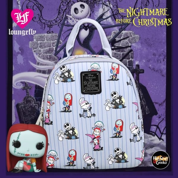 Loungefly Disney The Nightmare Before Christmas Cast Striped Mini Backpack - BoxLunch Exclusive