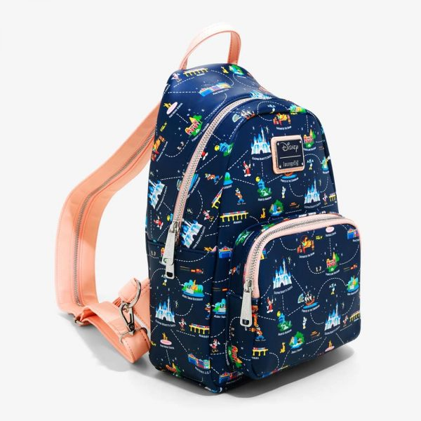 Loungefly Disneyland 65th Anniversary Map 2-in-1 Convertible Mini Backpack