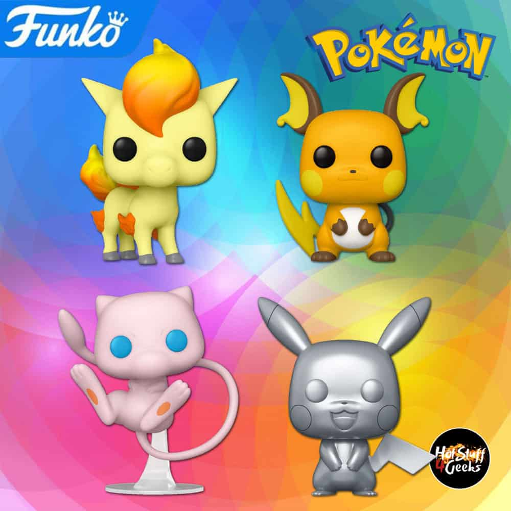 Funko Pop! Games: Pokemon - Mew, Pikachu Metallic Silver, Ponyta and Raichu Funko Pop! Vinyl Figures