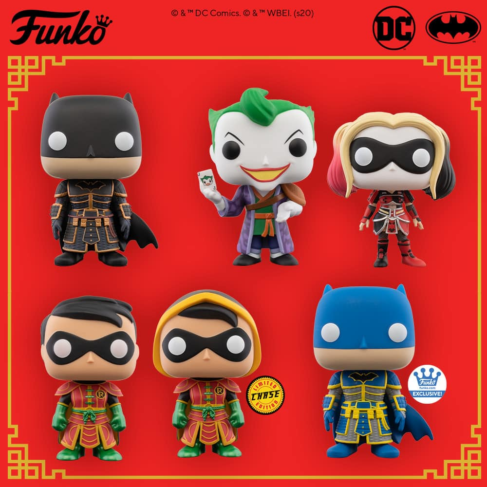 Funko Pop! Heroes: DC Comics - Imperial Palace Harley Quinn, Imperial Palace Batman, Imperial Palace Robin With Chase Variant and Imperial Palace Joker Funko Pop! Vinyl Figures