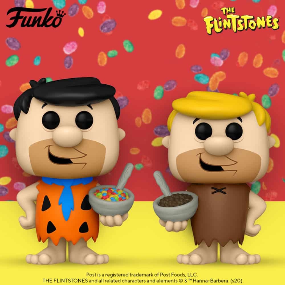 Funko Pop! Icons: The Filistones - Barney Rubble With Cocoa Pebbles and Fred Flinstone With Fruity Pebbles Funko Pop! Vinyl Figures
