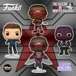 Funko Pop! Marvel Studios: The Falcon and Winter Soldier - Baron Zemo, Winter Soldier, Falcon, and Soldier Falcon Flying Funko Pop! Vinyl Figures - Funko Fair 2021
