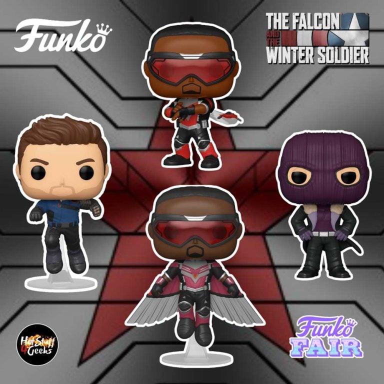 Funko Pop! Marvel Studios: The Falcon and Winter Soldier - Baron Zemo, Winter Soldier, Falcon, and Soldier Falcon Flying Funko Pop! Vinyl Figures - Funko Fair 2021