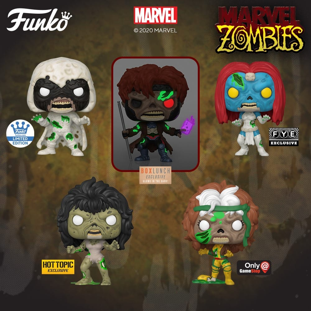 Funko Pop! Marvel Zombies: Zombie Gambit, Zombie Thor, Zombie Doctor Doom, Zombie Red Hulk and Zombie MODOK Funko Pop! Vinyl Figures